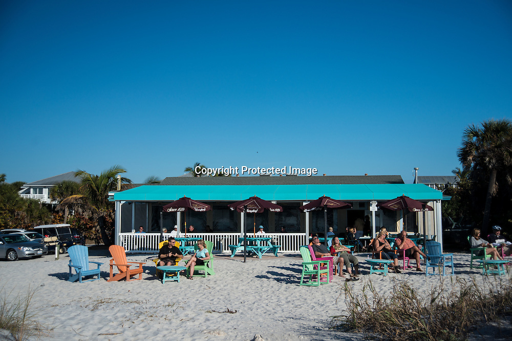 A sunny afternoon at the  South Beach Bar and Grill on Boca Grande Island on the Gulf Coast of Florida.