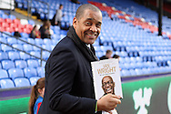 Mark Bright posing for a photo with his Ian Wright Autobiography. Premier League match, Crystal Palace v Sunderland at Selhurst Park in London on Saturday 4th February 2017. pic by Steffan Bowen, Andrew Orchard sports photography.