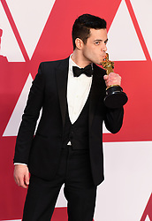 Rami Malek winner of the Best Actor Oscar in the press room at the 91st Academy Awards held at the Dolby Theatre in Hollywood, Los Angeles, USA. Photo credit should read: Doug Peters/EMPICS.