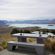 The view from the top of Mount John cafe overlooking Lake Tekapo and Mackenzie Country, South Island, New Zealand. Mount John is also the home of the Mount John University Observatory, Lake Tekapo has one of the most spectacular night skies in the world. 24th February 2011