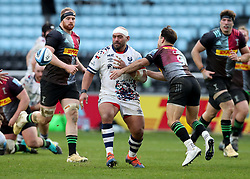 John Afoa of Bristol Bears passes as Danny Care of Harlequins moves in - Mandatory by-line: Matt Impey/JMP - 26/12/2020 - RUGBY - Twickenham Stoop - London, England - Harlequins v Bristol Bears - Gallagher Premiership Rugby