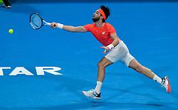 Nikoloz Basilashvili of Georgia returns the ball to Novak Djokovic of Serbia during their Quarter - Final of ATP Qatar Open Tennis match at the Khalifa International Tennis Complex in Doha, capital of Qatar, on January 03, 2019. Novak Djokovic won 2-1  (Credit Image: © Nikku/Xinhua via ZUMA Wire)