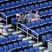 ORLANDO, FL - APRIL 12: Socially distanced fans are seen during a game between the San Antonio Spurs and Orlando Magic at Amway Center on April 12, 2021 in Orlando, Florida. NOTE TO USER: User expressly acknowledges and agrees that, by downloading and or using this photograph, User is consenting to the terms and conditions of the Getty Images License Agreement. (Photo by Alex Menendez/Getty Images)*** Local Caption ***