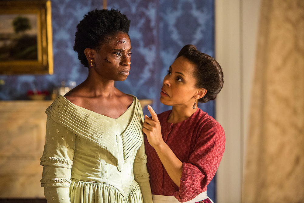 """Adina Porter as Pearly Mae and Amirah Vann as Ernestine in WGN America's """"Underground."""""""