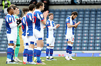 Blackburn Rovers players observe a minutes applause ahead of kick-off in memory of all those who've lost their lives to the Covid pandemic over the last year<br /> <br /> Photographer Rich Linley/CameraSport<br /> <br /> The EFL Sky Bet Championship - Blackburn Rovers v Luton Town - Saturday 30th January 2021 - Ewood Park - Blackburn<br /> <br /> World Copyright © 2021 CameraSport. All rights reserved. 43 Linden Ave. Countesthorpe. Leicester. England. LE8 5PG - Tel: +44 (0) 116 277 4147 - admin@camerasport.com - www.camerasport.com