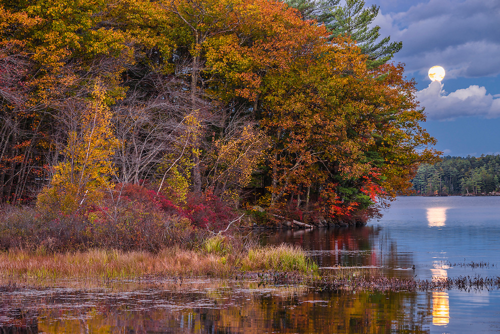 Full moonrise with reflections in Lake Waukewan, fall foliage on shoreline, Center Harbor, NH