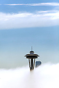 The Space Needle is nearly the only structure visible along the Seattle skyline due to heavy fog. (Ellen M. Banner / The Seattle Times
