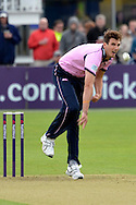 Steven Finn bowling during the NatWest T20 Blast South Group match between Gloucestershire County Cricket Club and Middlesex County Cricket Club at the Bristol County Ground, Bristol, United Kingdom on 15 May 2015. Photo by Alan Franklin.