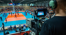 12-06-2019 NED: Golden League Netherlands - Estonia, Hoogeveen<br /> Fifth match poule B - The Netherlands win 3-0 from Estonia in the series of the group stage in the Golden European League / Dutch support, centercourt, Orange, TV, Camera
