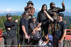 Where are the mountains? Mikey Revolt, Gary Thomas, Danger Dan, Coolbeans Chris Marino, Chris Drew, Justin Big Meas Wilson, Pat Patterson and Buddi Singh at the Everest Panorama Resort in Daman on Motorcycle Sherpa's Ride to the Heavens motorcycle adventure in the Himalayas of Nepal. Riding from Daman back to Kathmandu. Wednesday, November 13, 2019. Photography ©2019 Michael Lichter.