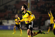 Jose Baxter celebrates scoring first goal during the Sky Bet League 1 match between Walsall and Sheffield Utd at the Banks's Stadium, Walsall, England on 17 March 2015. Photo by Alan Franklin.
