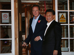 © Licensed to London News Pictures. 22/10/2015. Prime Minister David Cameron and Chinese President Xi Jinping visit the Plough pub near Princes Risborough, UK. Photo credit: Peter Macdiarmid/LNP