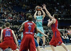 © Licensed to London News Pictures. 12/05/2013. London, UK.  FC Barcelona (Cyan strip) play CSKA Moscow (red strip) in the 3rd/4th place match of the Euroleague Basketball Final Four at The O2 Arena.   The Turkish Airlines Euroleague, commonly known as the Euroleague, is the highest level tier and most important professional club basketball competition in Europe, with teams from up to 18 different countries, members of FIBA Europe. Photo credit : Richard Isaac/LNP