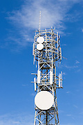 Cellular and microwave antennas  on a square lattice tower in Queensland, Australia. <br /> <br /> Editions:- Open Edition Print / Stock Image