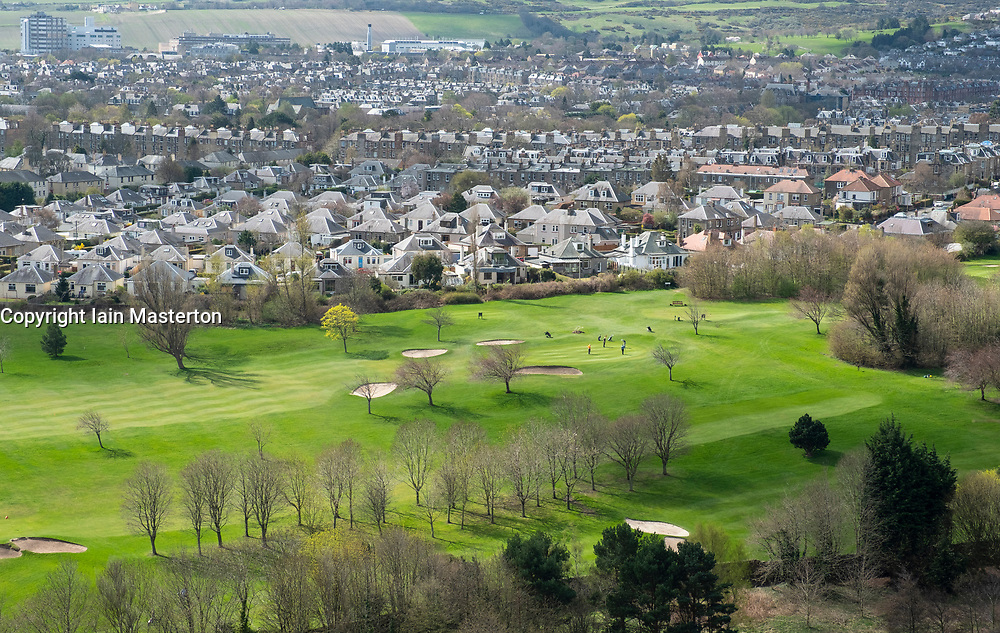 Looking down on Golf Course and suburban housing at  Prestonfield in Edinburgh, Scotland, UK.