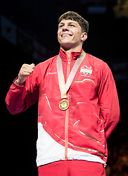 England's Pat McCormack with his gold medal following the Men's Welter (69kg) final at Oxenford Studios during day ten of the 2018 Commonwealth Games in the Gold Coast, Australia.