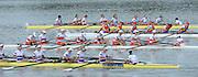 Chungju, South Korea.  Final Women's Eights W8+2013 FISA World Rowing Championships, Tangeum Lake International Regatta Course.15:54:17  Sunday  01/09/2013 [Mandatory Credit. Peter Spurrier/Intersport Images]<br /> <br /> 1USA w8+. Amanda POLK (b) , Kerry SIMMONDS (2) , Emily REGAN (3) , Lauren SCHMETTERLING (4) , Grace LUCZAK (5) , Meghan MUSNICKI (6) , Victoria OPITZ (7) , Caroline LIND (s) , Katelin SNYDER.<br /> <br /> 2ROU W8+ Cristina ILIE (b) , Ionelia ZAHARIA (2) , Cristina GRIGORAS (3) , Ioana CRACIUN (4) , Camelia LUPASCU (5) , Andreea BOGHIAN (6) , Roxana COGIANU (7) , Nicoleta ALBU (s) , Daniela DRUNCEA (<br /> 3CAN W8+. Lisa ROMAN (b) , Jennifer MARTINS (2) , Carolyn GANES (3) , Susanne GRAINGER (4) , Sarah BLACK (5) , Christine ROPER (6) , Natalie MASTRACCI (7) , Cristy NURSE (s) , Kristen KIT<br /> 4GBR W8+ Melanie WILSON (b) , Caragh MCMURTRY (2) , Louisa REEVE (3) , Beth RODFORD (4) , Jessica EDDIE (5) , Zoe LEE (6) , Katie GREVES (7) , Olivia CARNEGIE-BROWN (s) , Zoe DE TOLEDO <br /> <br /> 5AUSW8+ Hannah VERMEERSCH (b) , Renee CHATTERTON (2) , Peta WHITE (3) , Katrina BATEMAN (4) , Tess GERRAND (5) , Alexandra HAGAN (6) , Charlotte SUTHERLAND (7) , Lucy STEPHAN (s) , Elizabeth PATRICK. <br /> 6NEDW8+ Marleen VERBURGH (b) , Kyra DE VRIES (2) , Aletta JORRITSMA (3) , Janneke VAN DER MEULEN (4) , Kirsten WIELAARD (5) , Dominique Van der PAUW (6) , Rosa BAS (7) , Heleen BOERS (s) , Jonna DE VRIES (c)