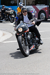 Max Ness rode his Grandpa Arlen's 1993 race inspired Team Ness custom Harley-Davidson for the Arlen Ness Memorial - Celebration of Life ride from the CrossWinds Church in Livermore to the Arlen Ness Motorcycle store in Dublin, CA, USA. Saturday, April 27, 2019. Photography ©2019 Michael Lichter.