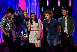 LOS ANGELES - AUGUST 13: K.J. Apa (2nd from right) and the cast of 'RIVERDALE' accept the Choice Drama TV Show onstage at FOX's 'Teen Choice 2017' at the Galen Center on August 13, 2017 in Los Angeles, California. (Photo by Frank Micelotta/FOX/PictureGroup) *** Please Use Credit from Credit Field ***