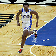 ORLANDO, FL - APRIL 12: Robert Franks #0 of the Orlando Magic runs the court against the San Antonio Spurs at Amway Center on April 12, 2021 in Orlando, Florida. NOTE TO USER: User expressly acknowledges and agrees that, by downloading and or using this photograph, User is consenting to the terms and conditions of the Getty Images License Agreement. (Photo by Alex Menendez/Getty Images)*** Local Caption *** Robert Franks