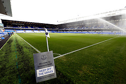 General view of a Welcome to Goodison Park keep off the grass sign pitchside ahead of the Premier League match at Goodison Park, Liverpool.