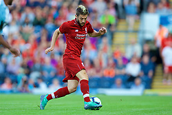BLACKBURN, ENGLAND - Thursday, July 19, 2018: Liverpool's Adam Lallana, with a streak of dyed blonde hair, during a preseason friendly match between Blackburn Rovers FC and Liverpool FC at Ewood Park. (Pic by David Rawcliffe/Propaganda)