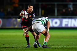Dragons' Adam Warren is tackled by Newcastle Falcons' Josh Matavesi<br /> <br /> Photographer Craig Thomas/Replay Images<br /> <br /> EPCR Champions Cup Round 3 - Newport Gwent Dragons v Newcastle Falcons - Saturday 15th December 2017 - Rodney Parade - Newport<br /> <br /> World Copyright © 2017 Replay Images. All rights reserved. info@replayimages.co.uk - www.replayimages.co.uk