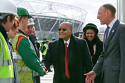 London 2012 today welcomed The President of the Republic of South Africa Jacob Zuma on a tour of the Olympic Park site in East London.<br /> <br /> <br /> Picture shows: The President meeting apprentices working on the Olympic Park