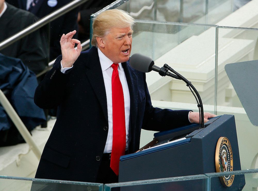 President Donald Trump delivers his speech at the inauguration ceremonies as the 45th president of the United States on the West front of the U.S. Capitol in Washington, U.S., January 20, 2017. REUTERS/Rick Wilking  - RTSWJBG