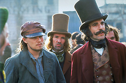 RELEASE DATE: December 20, 2002. MOVIE TITLE: Gangs of New York. STUDIO: Miramax Films. PLOT: 1863. America was born in the streets. In this movie, we see Amsterdam Vallon returning to the Five Points of America to seek vengeance against the psychotic gangland kingpin Bill the Butcher who murdered his father years ago. With an eager pickpocket by his side and a whole new army, Vallon fights his way to seek vengeance on the Butcher and restore peace in the area. However this is more said than done. PICTURED: LEONARDO DICAPRIO as Amsterdam Vallon and DANIEL DAY-LEWIS as Bill Cutting. (Credit Image: © Miramax Films/Entertainment Pictures/ZUMAPRESS.com)
