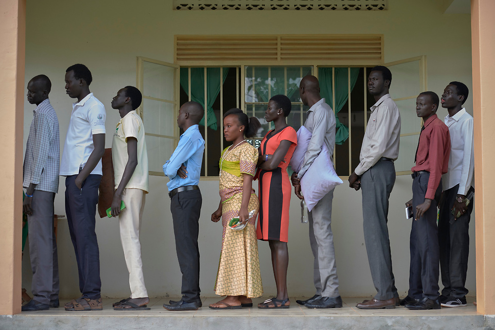 Students at the Solidarity Teacher Training College (STTC) in Yambio, South Sudan, queue up to take exams. The STTC is run by Solidarity with South Sudan, an international network of Catholic groups working to train teachers, health workers and pastoral agents throughout the African country.