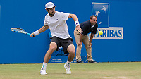 Tennis - 2017 Aegon Championships [Queen's Club Championship] - Day Four, Thursday <br /> <br /> Men's Singles: Round of 16 - Jordan THOMPSON (AUS) vs Sam QUERREY (USA)<br /> <br /> Jordan Thompson (AUS) prepares to return service at Queens Club<br /> <br /> COLORSPORT/DANIEL BEARHAM