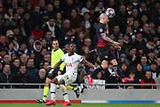 Defender Angelino Of Leipzig heads the ball during the UEFA Champions League match between Tottenham Hotspur and RB Leipzig, at The Tottenham Hotspur Stadium, Thursday, Feb. 20 2020,  in  London, United Kingdom. (Mitchell Gunn/Image of Sport)