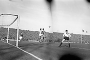 13/10/1963<br /> 10/13/1963<br /> Ireland v Austria, European Championship match at Dalymount Park, Dublin. Ireland won the game 3-2. Austria's Johann Buzek clashes with Irish Keeper Alan Kelly in a mid air collision catching Ireland's Charlie Hurley between them. Also visible is Austria's Horst Nemec (10) and Ireland's Tommy Traynor (left).