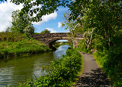 View of Union Canal and tow path at Old Philpstoun in West Lothian , Scotland, UK