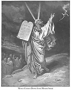 Moses Coming Down From Mt. Sinai Exodus 32:15 From the book 'Bible Gallery' Illustrated by Gustave Dore with Memoir of Dore and Descriptive Letter-press by Talbot W. Chambers D.D. Published by Cassell & Company Limited in London and simultaneously by Mame in Tours, France in 1866