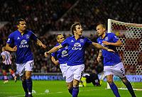 20111226: LONDON, UK - Barclays Premier League 2011/2012: Sunderland vs Everton.<br /> In photo: Leighton Baines (C) of Everton FC celebrates scoring his side's first goal.<br /> PHOTO: CITYFILES