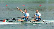 FISA World Cup Rowing Munich Germany..Photo Peter Spurrier 29/05/2004. Finals day..ITA M2X bow Rossano Galtarossa and Alessio Sartori [Mandatory Credit: Peter Spurrier: Intersport Images].