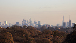 © Licensed to London News Pictures. 30/11/2017. London, UK. General view of London skyline seen fom Richmond Park this morning, as temperatures dropped to 0 degrees celcius in the capital last night. Photo credit : Tom Nicholson/LNP