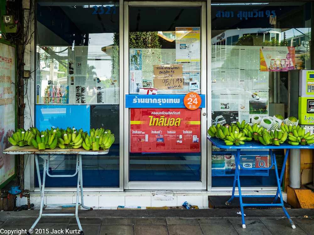 31 DECEMBER 2015 - BANGKOK, THAILAND: A fruit stand in front of a now closed shop in Bang Chak Market. The market is supposed to close permanently on Dec 31, 2015. The Bang Chak Market serves the community around Sois 91-97 on Sukhumvit Road in the Bangkok suburbs. About half of the market has been torn down. Bangkok city authorities put up notices in late November that the market would be closed by January 1, 2016 and redevelopment would start shortly after that. Market vendors said condominiums are being built on the land.          PHOTO BY JACK KURTZ