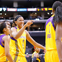 19 June 2014: Los Angeles Sparks forward/center Candace Parker (3) talks to Los Angeles Sparks forward/center Sandrine Gruda (7) during the Los Angeles Sparks 87-77 victory over the Tulsa Shock, at the Staples Center, Los Angeles, California, USA.