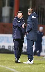 Dundee's manager Paul Hartley and Motherwell's manager Ian Baraclough at the end. <br /> Dundee 4 v 1 Motherwell, SPFL Premiership played 10/1/2015 at Dundee's home ground Dens Park.