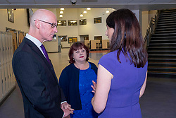 Pictured: John Swinney, Head teacher Loranie Legix and Joan Daly deputy principal<br />