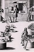 Refining of silver, showing (2) a test put into the furnace and (3) burning the silver in a test. A test warming (8) and a roaster for making burnt silver dry (9). From 1683 English edition of Lazarus Ercker 'Beschreibung allerfurnemisten mineralischen Ertzt- und Berckwercksarten' originally published in Prague in 1574. Copperplate engraving.