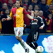 Galatasaray's Johan Elmander (L) and Besiktas's Ricardo Quaresma (R) Action picture during their Turkish superleague soccer derby match Galatasaray between Besiktas at the TT Arena at Seyrantepe in Istanbul Turkey on Sunday, 26 February 2012. Photo by TURKPIX
