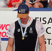 St Catherines, CANADA,  Men's Single Sculls, Gold medalist NZL M1X, rob WADDELL, awards Dock.  1999 World Rowing Championships - Martindale Pond, Ontario. 08.1999..[Mandatory Credit; Peter Spurrier/Intersport-images]  .. 1999 FISA. World Rowing Championships, St Catherines, CANADA