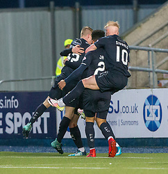 Falkirk's Andrew Nelson (43) celebrates after scoring their third goal. Falkirk 3 v 1 Inverness Caledonian Thistle, Scottish Championship game played 27/1/2018 at The Falkirk Stadium.