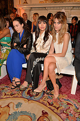 Left to right, TALLULAH HARLECH, ZARA MARTIN and JADE WILLIAMS at the LDNY Fashion Show and WIE Award Gala sponsored by Maserati held at The Goldsmith's Hall, Foster Lane, City of London on 27th April 2015.