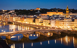 Arno river twilight view from Westin Exelsior rooftop bar, Florence, Italy. 27/08/15. Photo by Andrew Tallon