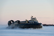 This 70-foot, 30-ton British-built AP 1-88 hovercraft is used to deliver mail, supplies, and people to a series of villages along the Kuskokwim River near Bethel, Alaska. It has even been used for emergency medical evacuations.